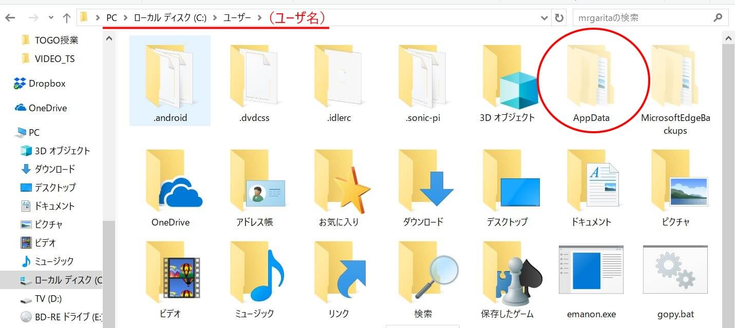 WindowsのProgramDataフォルダの出し方