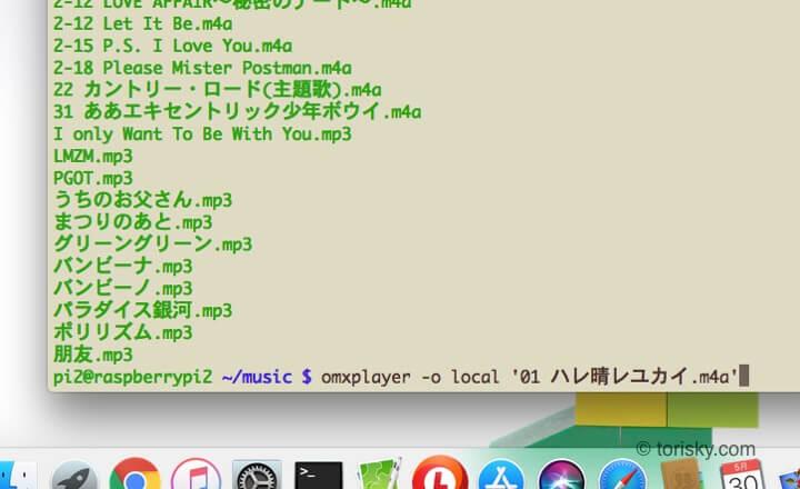 omxplayerでファイル名に空白がある曲を再生したい