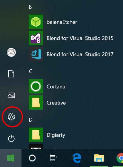 Windows10設定メニュー