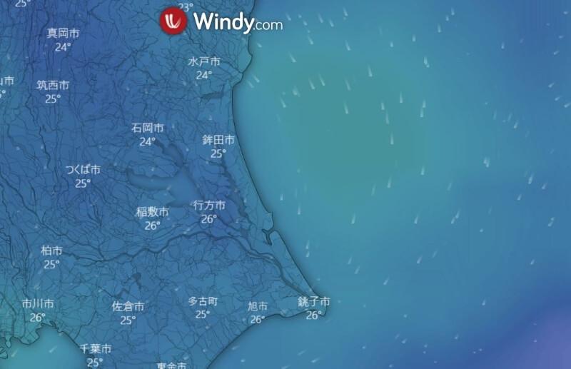 台風が近づくと見たくなるサイトWindy