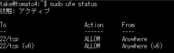 Ubuntu標準搭載のファイアウォールufwコマンドでSSHのみ許可する